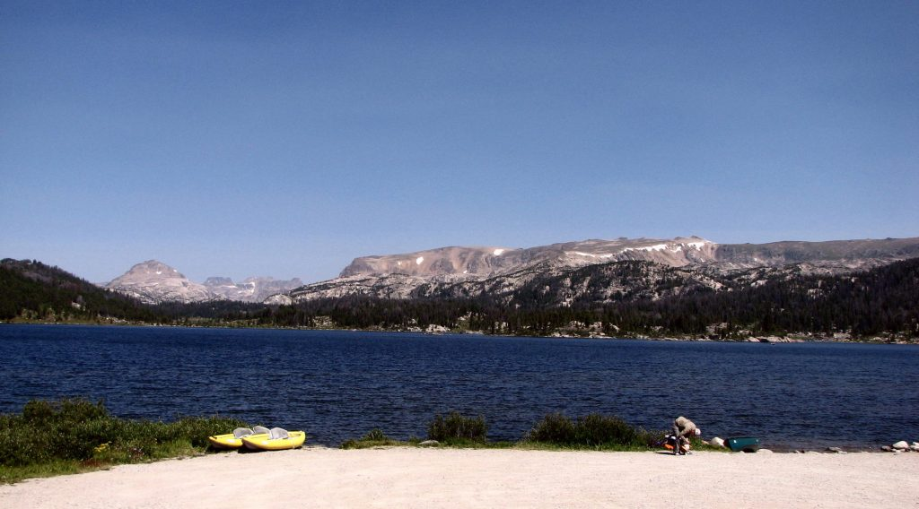The main beach and launch area at Island Lake