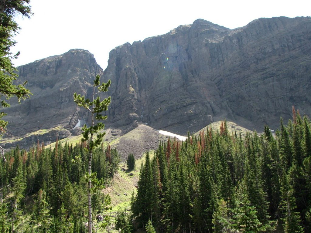 Photo of the sheer cliffs that are at the source of Mill Creek