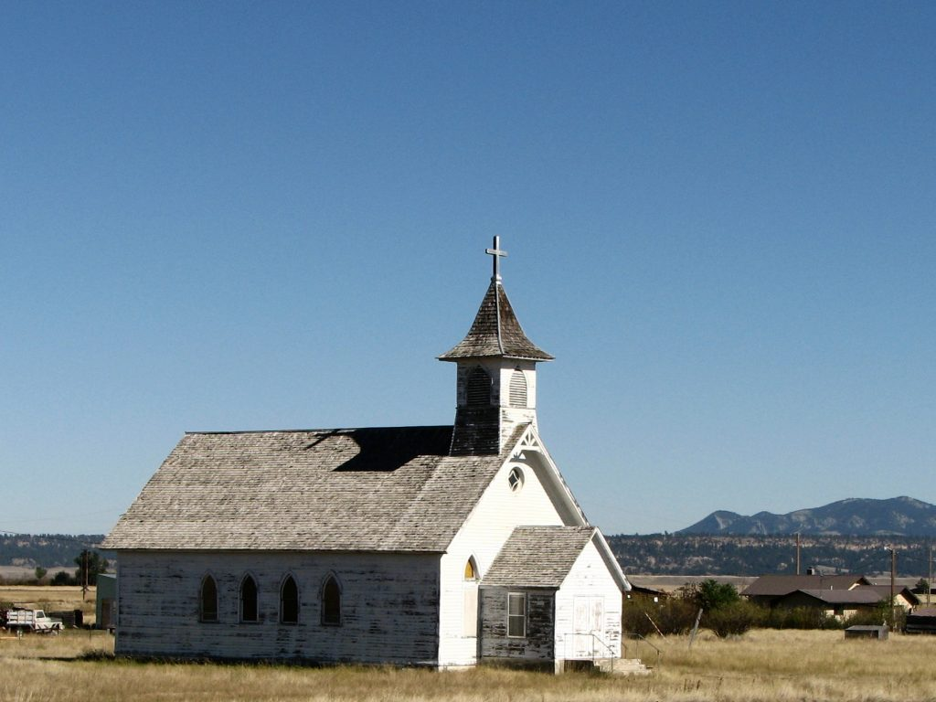 Photo of an abandoned church in Central Montana