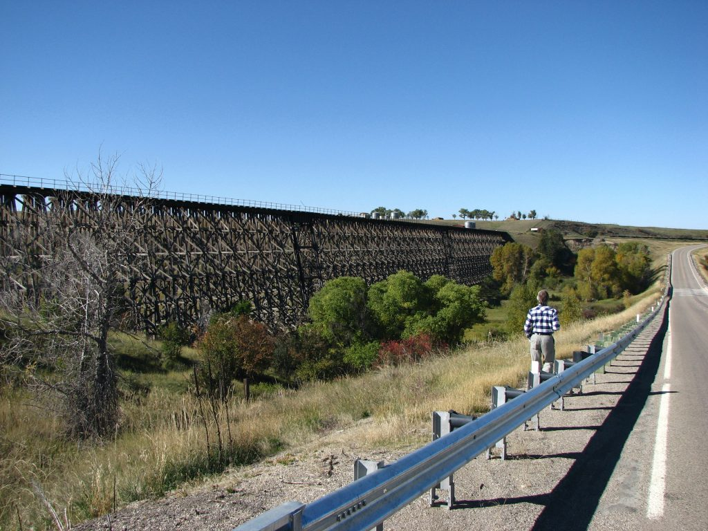 Photo of abandonded wooden railroad trestle in Central Montana